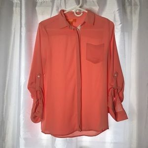 Womens Joe Fresh Long Sleeve Collar Button Up S